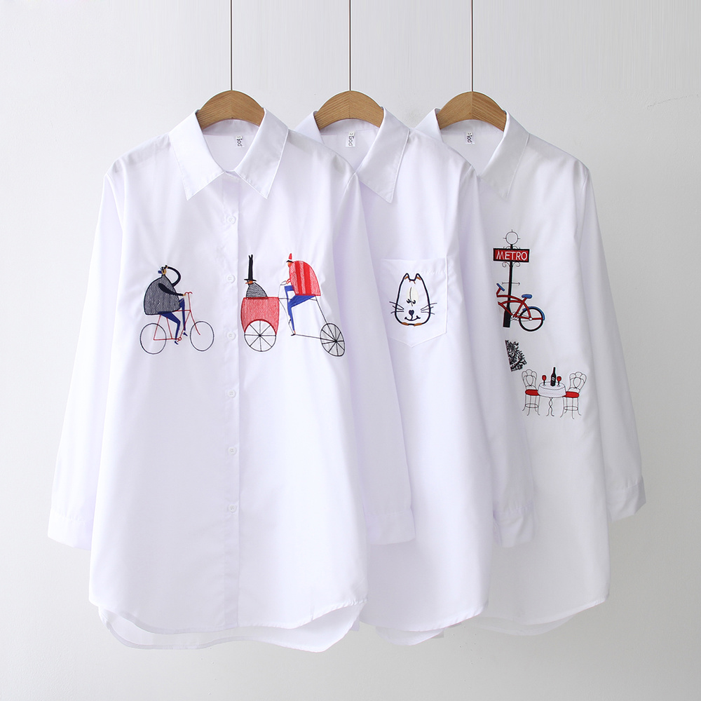 2020 Spring White Shirt Wear Button Down Shirts Casual Women Loose Blouses Turn Down Collar Embroidery Feminina Comfortable