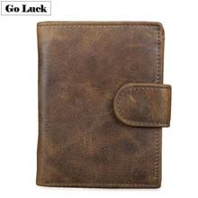 Genuine Leather RFID Pocket Wallet Mens Hasp Credit ID Cardholder Cardcase Wallets Male Coin Bag Cash Purse