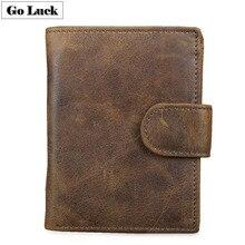 Hakiki deri RFID cüzdan erkek Hasp kredi kimlik kartı sahibi kart durumda cüzdan erkek para çantası nakit çanta