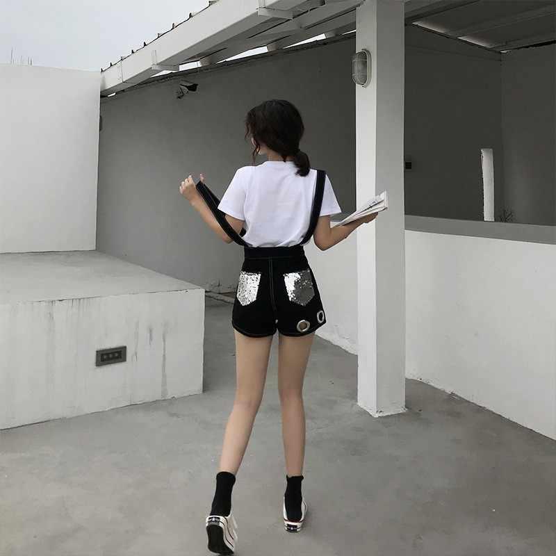גבוהה רחוב נשים חדש אישיות גרבים מותניים גבוהים מתכת רוכסן טבעת פאייטים כיסי היפ הופ מזדמן Overcalls