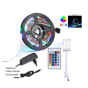 LED Strip Light RGB 5050 SMD 2835 Flexible Ribbon fita led light strip RGB 5M 10M 15M Tape Diode DC 12V+ Remote Control +Adapter image