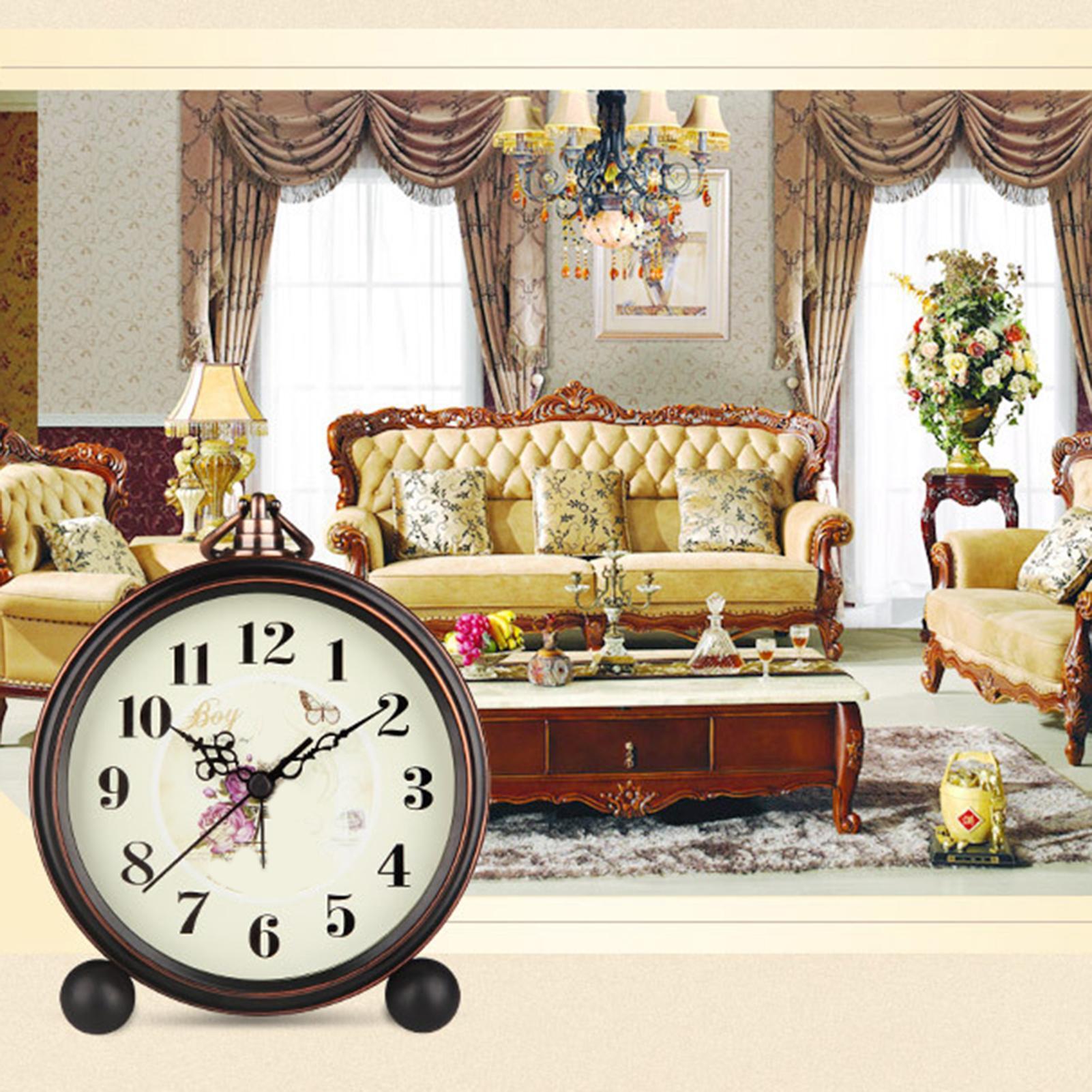 2020 new Vintage Desktop Metal Flower Bird Pattern Silent Alarm Clock with Hollow Pointer Desk Table Bedroom Electronic Clocks