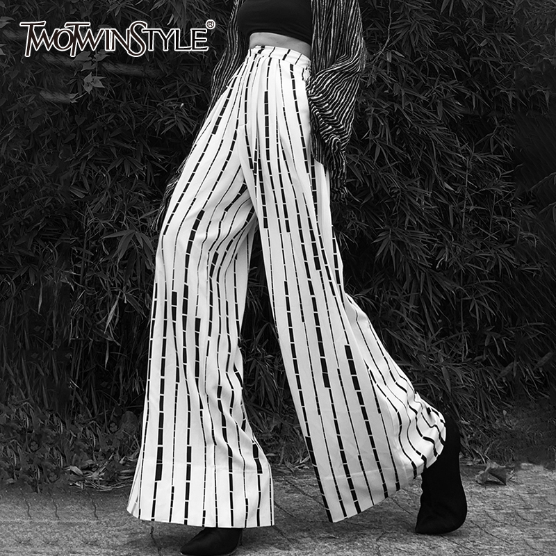 TWOTWINSTYLE Casual Loose Women Full Length Pants High Wiast Hit Color Striped Ruched Wide Leg Pant For Female Clothing Fashion