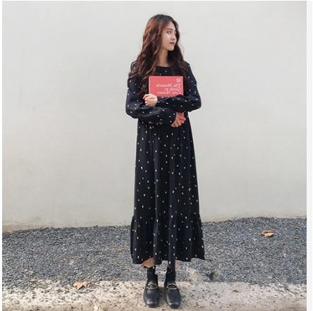 Plus-sized Loose-Fit Long Sleeve Polka Dot Chiffon Dress Base Shirt Long Skirts Women's