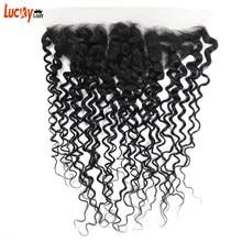 13X4 HD trasparente pizzo frontale brasiliano onda d'acqua chiusura frontale 100% Remy capelli umani libero/medio/tre parti colore naturale