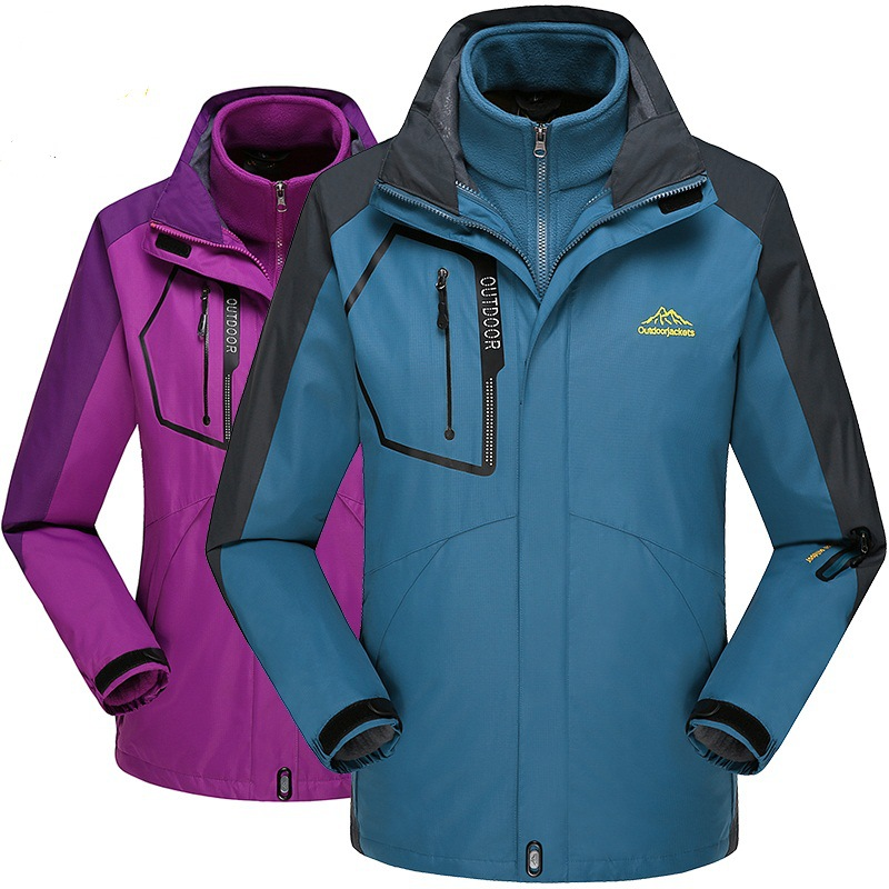 Three-in-One Outdoor Raincoat Jacket Men's And Women's COUPLE'S Two-Piece Set Plus-sized Mountaineering