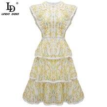 Mini abito estivo LD LINDA DELLA Fashion Runway donna senza maniche elegante volant pizzo ricamato Mini abito stampa floreale