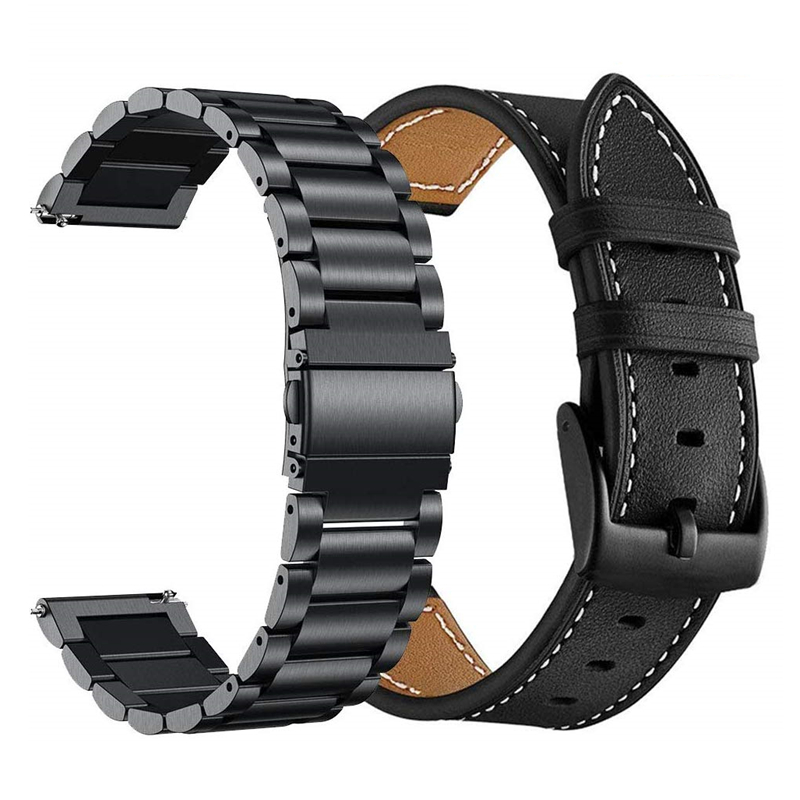 for Samsung Galaxy Watch active 2 44mm 40mm Band Sets Stainless Steel and leather Bracelet Strap for Galaxy Watch 42mm Gear s2