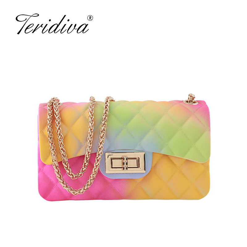Classic Luxury Brand Designer Handbag Women Gradient Color Shoulder Bag Ladies Jelly PVC Messenger Bags Transparent Purse