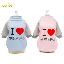 Dog Cat Clothes For Small Love MOM&DAD Teddy Clothing Coat Pet Hoody Chihuahua Dogs Warm Costume 38