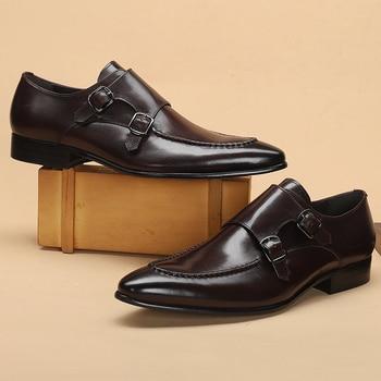 Men leather shoes business dress suit men brand Bullock genuine black slipon  wedding mens Phenkang 2020