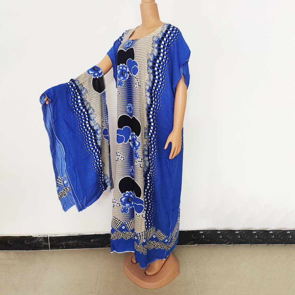 Women's African Large Dress Loose Casual Print Dashiki Round Neck Short Sleeve Robe Spring And Summer New Style With Headscarf