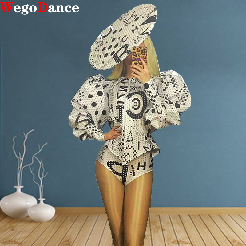 Sexy Words Print Long Sleeve Shirt Costume Stage Dance Wear Jacket Dance Birthday Clothing For Women Rave Show Wear Suit