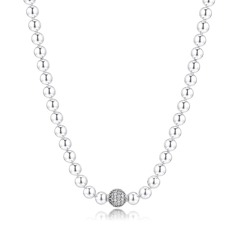 Collier argent 925 bijoux perles pavé collier pour femmes cadeau authentique 925 en argent Sterling Collares Colar livraison gratuite 5N109