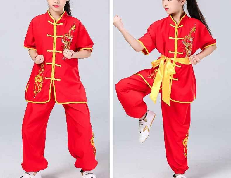 ユニセックス子供刺繍ドラゴン武術太極拳ユニフォーム太地カンフースーツ武道のパフォーマンスの衣類