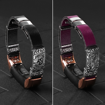 Leather band For HONOR Band 5 4 Strap Metal Stainless Steel decoration For HUAWEI HONOR Band 5 bracelet Wristbands Accessories