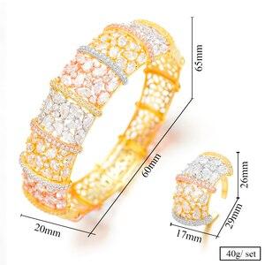 Image 5 - GODKI Luxury Ginkgo Leaf Nigeria Bangle Ring Set Jewelry Set For Women Wedding Cubic Zircon Crystal CZ Dubai Bridal Jewelry Sets