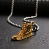 Luokey-collar de Hip-Hop para hombre y mujer, moda de Corea de baloncesto, pendientes con forma de zapatos, collares, botas, collar, joyería Punk