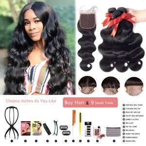 Beaudiva Wig Bundles Weave Lace-Wig Body-Wave 100%Human-Hair DIY with Closure Brazilian-Hair