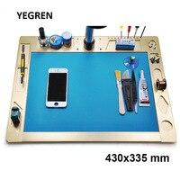 Stereo Mikroskop Werkbank 430x335mm Aluminium Legierung Arbeits Bühne mit Silikon Matte für Handy Inspektion Reparatur-in Mikroskopteile und -zubehör aus Werkzeug bei