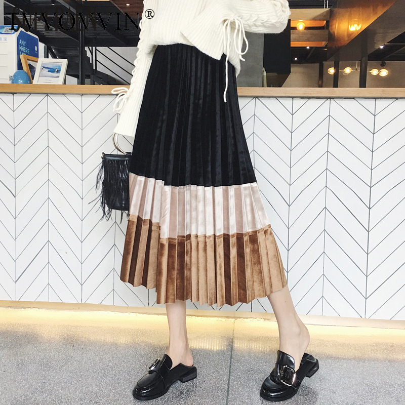 TVVOVVIN Velvet Pleated Skirt Women Korean Style Wild Casual Fashion Ladies Skirts Autumn And Winter 2019 New Skirts Female F088
