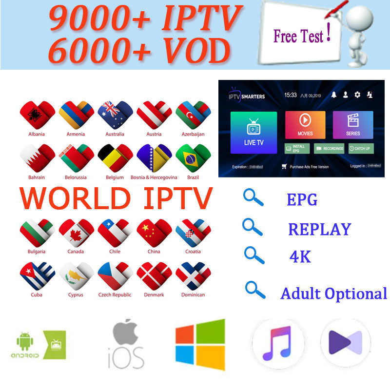 2 days IPTV subscription test for android tv box smart tv