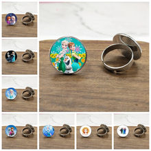 Brand Ladies Charm Jewelry Ring Crystal Cabochon Princess Elsa Anna Snow Queen Ring For Girls Gift(China)