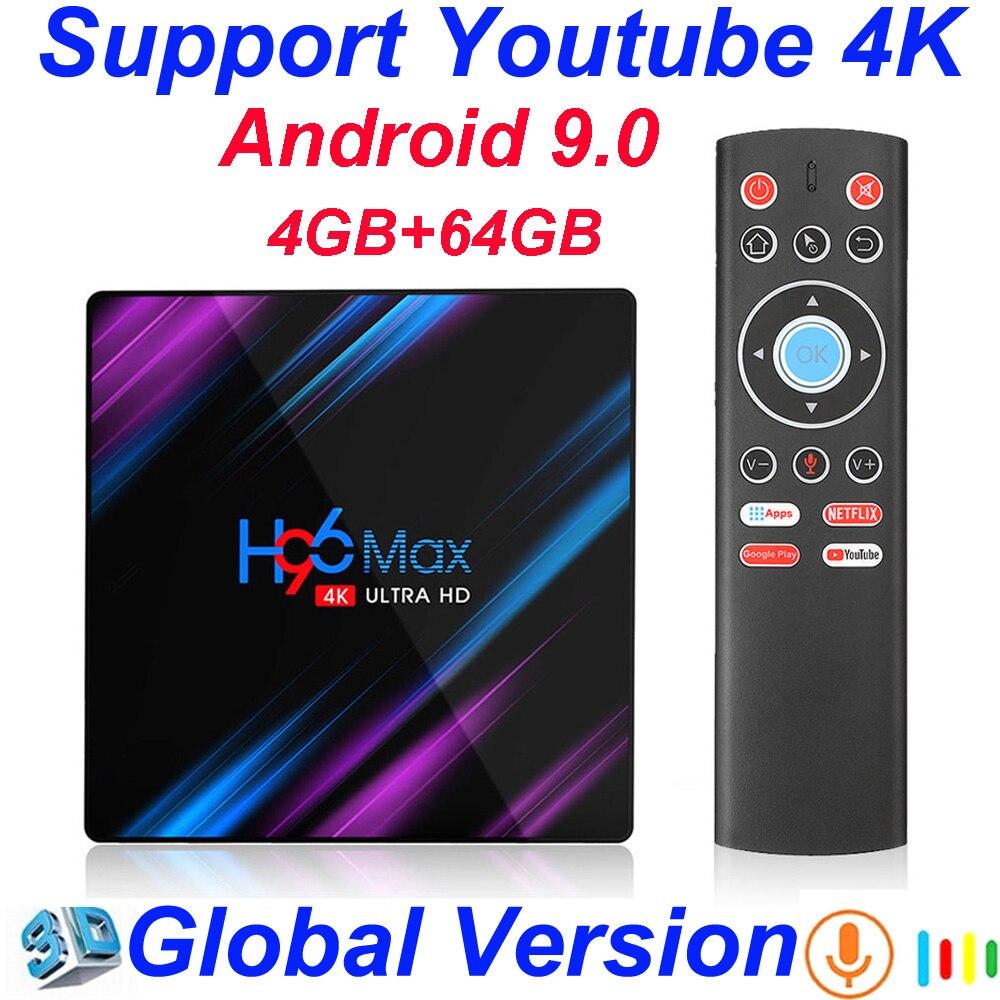 Caixa de TV Do Google Android 9.0 GB 64 4GB De Entrada De Voz Suporte Youtube Rockchip RK3318 4K USB3.0 Google Play loja Netflix Caixa Smart TV