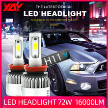 YAY Car Headlight Bulbs H4 LED H7 H11 H8 HB4 H1 H3 9005 HB3 Auto S2  72W 16000LM Car Accessories 6500K  led fog light 2pcs led headlight 72w kit 16000lm kit h4 high low beam h7 9005 9006 hb4 cob s2 auto car light all in one automobile lamp 6500k