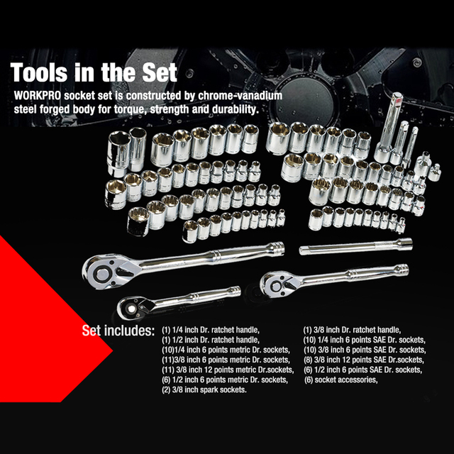 WORKPRO 408PC Home Tool Set Mechanics Tool Set with 3 Drawer Heavy Duty Metal Box 4