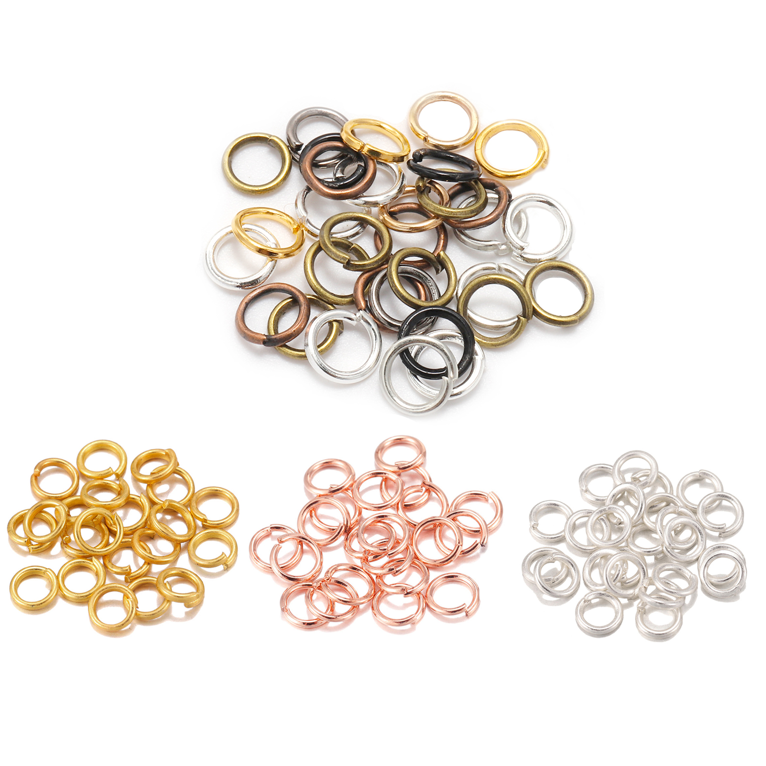 200pcs 3-16mm Gold Rhodium Metal Jump Ring Open Single Loops Split Rings Supplies For DIY Jewelry Handmade Accessories