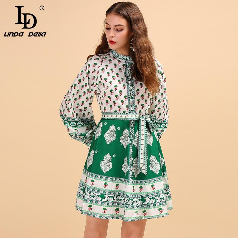 LD Linda della мода взлетно-посадочной полосы осеннее платье Для женщин с пышными рукавами галстук бабочка с принтом эластичной лентой на талии э...