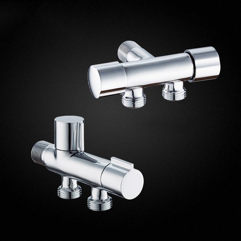 Bathroom Angle Valve Copper Double Outlet Valve G1/2 For Shower Head Toilet Sink Basin Water Heater Bidet Sprayer Angle Valve