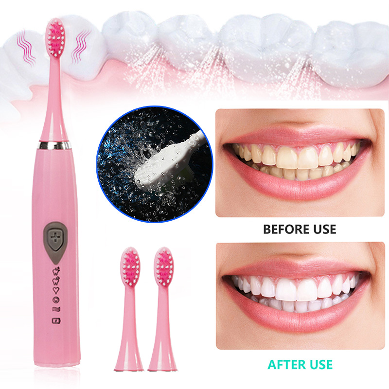 Rechargeable Electric Toothbrush With 3 Replaced Toothbrush Heads Deep Clean Teeth Inductive Toothbrush Whitening Tools Healthy image
