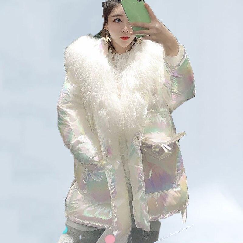 Bright Thick Winter Coat Women Tide 2019 Winter Jacket Women New Big Fur Collar Korean Bread Mid-length Warm Down Jacket 132