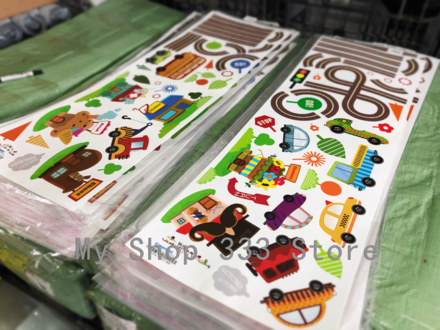 Cartoon Cars Highway Track Wall Stickers For Kids Rooms Sticker Children's Play Room Bedroom Decor Art Decals 4