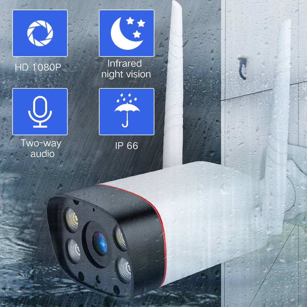 SDETER WiFi Outdoor Security Camera 1080P IP Camera WIFI Waterproof Wireless CCTV Camera Night Vision Audio Motion Alarm P2P Cam