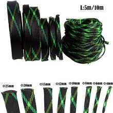 5 м Расширяемый ПЭТ плетеный рукав черный и зеленый и желтый провод кабельный рукав высокой плотности Обшивка PC Кабельный органайзер 4-25 мм