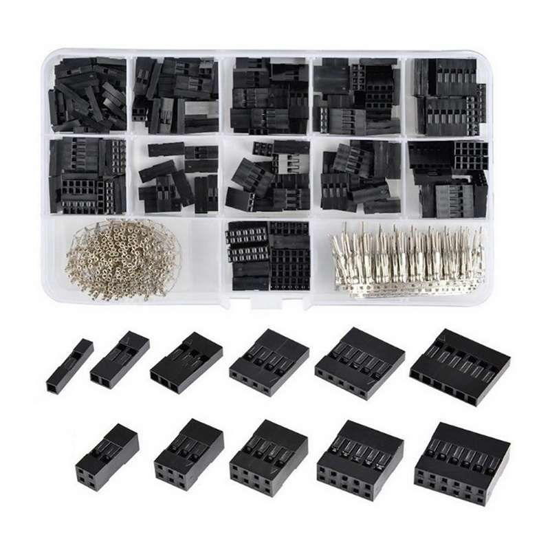 620pcs Dupont Connector 2.54mm Dupont Cable Jumper Wire Pin Header Housing Kit Male Crimp Pins+Female Pin Terminal Connector