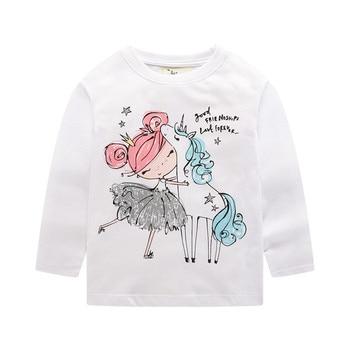 Jumping meters 2020 Unicorn Girls Long Sleeve T shirts 100% Cotton Tops Children Animals Clothing Autumn Spring T shirts Kids 2