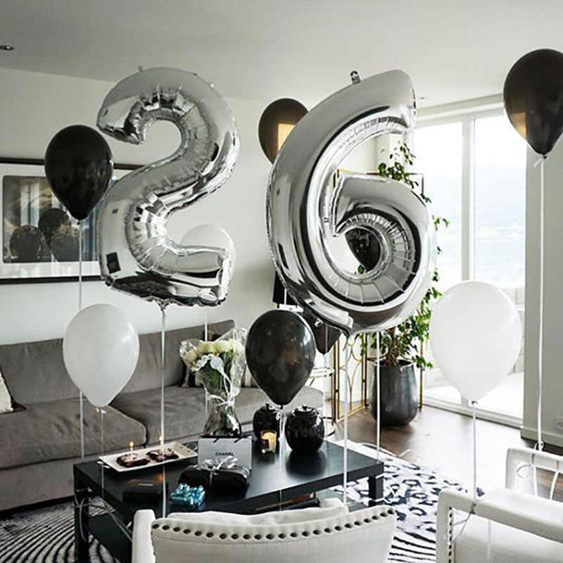 16/32/40 Polegada grande folha balões de aniversário número de hélio ar balão figuras feliz aniversário criança baloons decorações da festa de aniversário