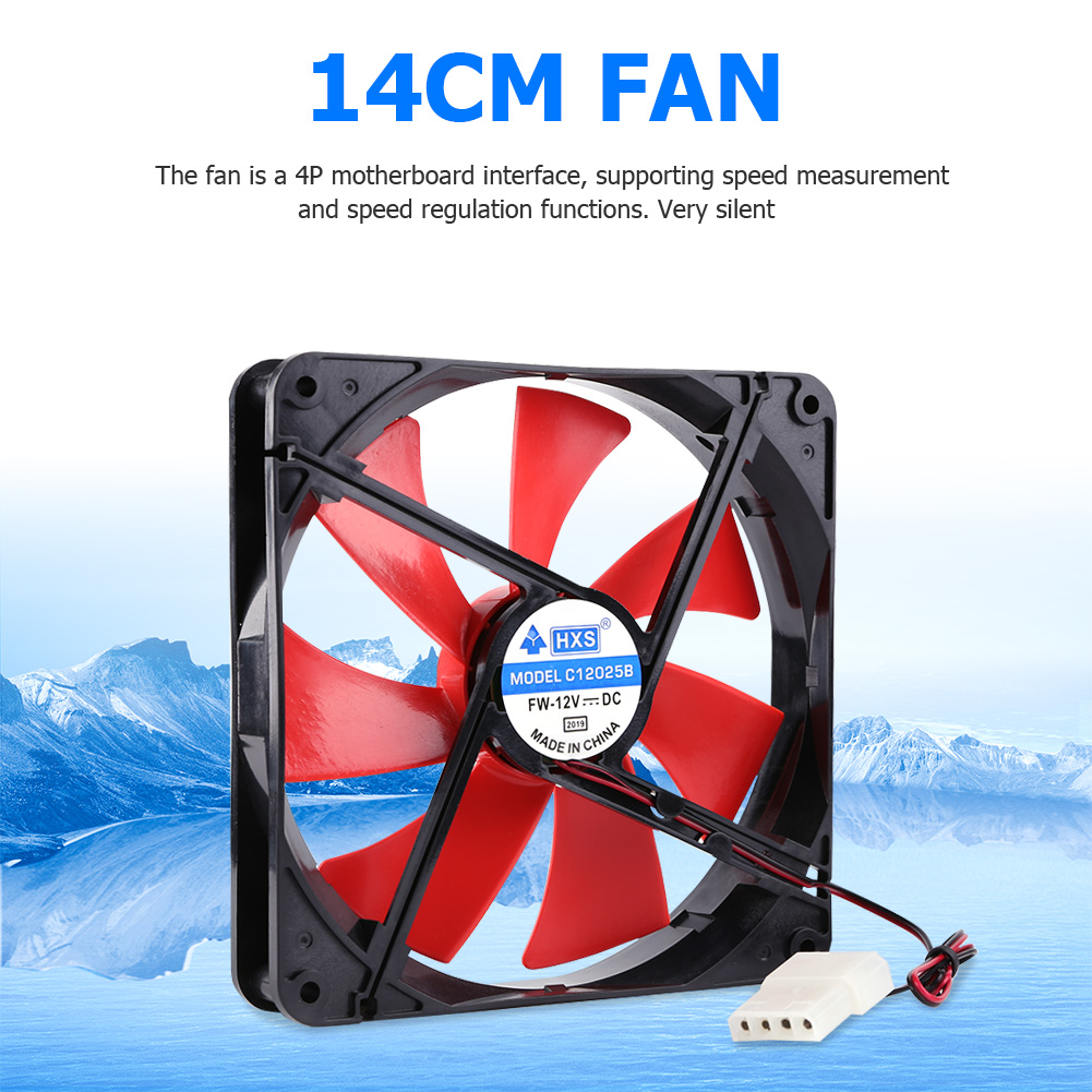 <font><b>140mm</b></font> 4 Pin Speed Adjustable Silent PC Case Cooling <font><b>Fan</b></font> CPU Cooler <font><b>Fan</b></font> <font><b>12V</b></font> Computer components and hardware image