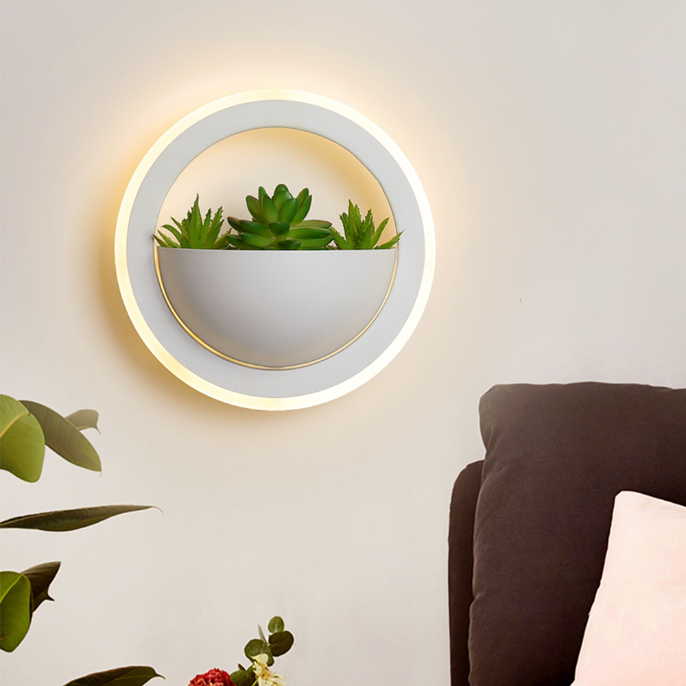 Modern LED Metal Wall Light Fixtures with Plant Nordic Round Wall Lamp with White Acrylic Shade