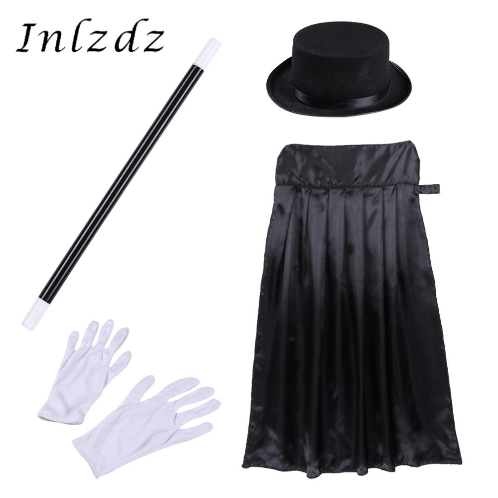 Kids Magician Wizard Cosplay Games Costume Kiddie Boys Halloween Outfit Cape Hat Magic Wand Gloves Set for Role Play Choir Stage