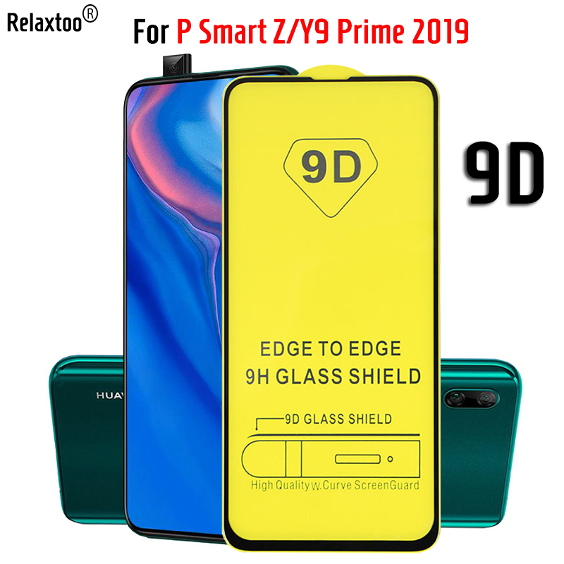 9D Tempered Glass On For Huawei P Smart Z 6.59 Full Coverage 9H Explosion-proof Film Screen Protector For Y9 Prime 2019 Y 9 2019