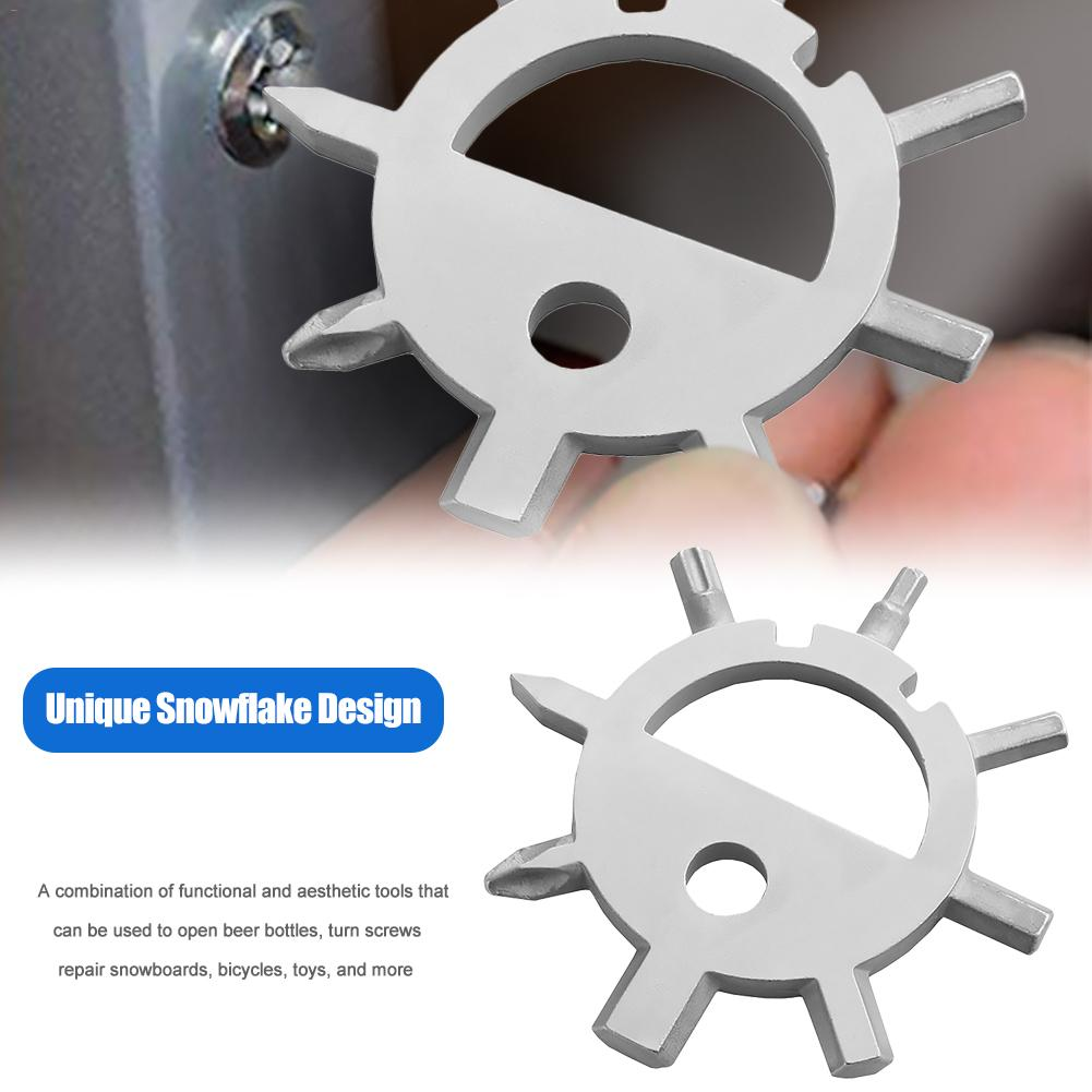 Stainless Steel Snowflakes Multi-tool Card Screwdriver Wrench Bottle Opener Hot