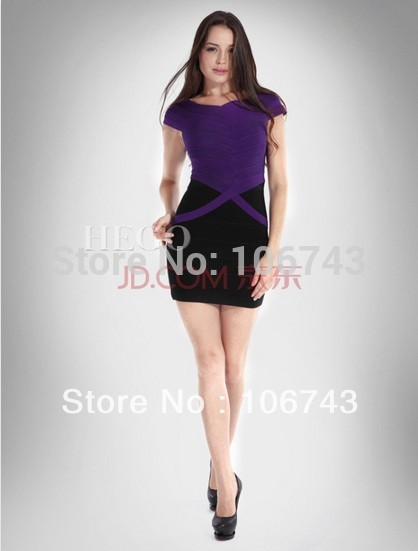 Free Shipping 2018 New Fashion Vestidos Formal Party Prom Gown Bandage Cap Sleeve Short Purple And Black Mother Of The Dresses