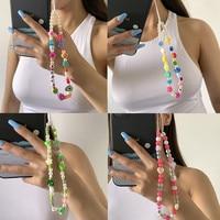 DIEZI etnico multicolore morbido argilla perle perline telefono catena lettere fiore frutta cuore cellulare portachiavi cordino da polso