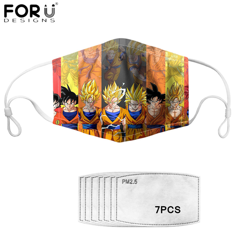 FORUDESIGNS Breathable Face Masks For Child Boys Dragon Ball Z Saiyan Print Washable Mouth Mask With PM2.5 Filters Face Shield