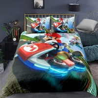 Super Mario Bedding Soft Microfiber Duvet Cover Cool Racing Driver Bed Cover Pillowcase Children Room Decor Bed Sets Quilt Cover